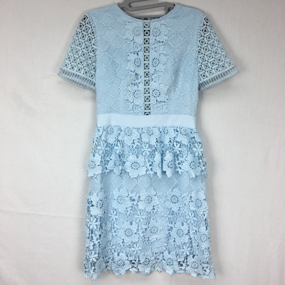Ted Baker Baby Blue Dixa Layered Lace Skater Dress Nwt